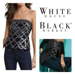 White House Black Market Sequin Corset Top Size 0